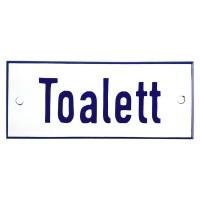 Emaljskylt Toalett vit - blå 12 x 5 cm modell 1