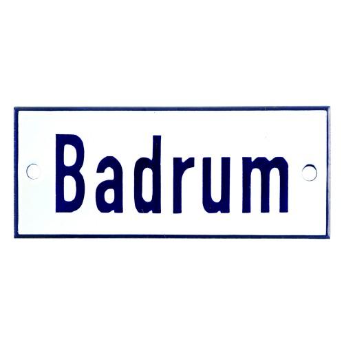 Emaljskylt Badrum vit - blå 12 x 5 cm modell 1