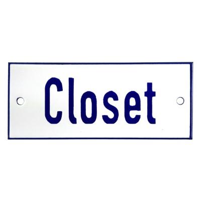 Emaljskylt Closet vit - blå 12 x 5 cm modell 1