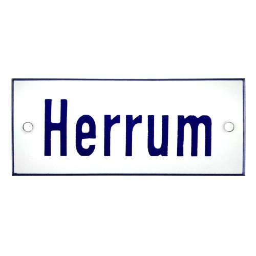 Emaljskylt Herrum vit - blå 12 x 5 cm modell 1