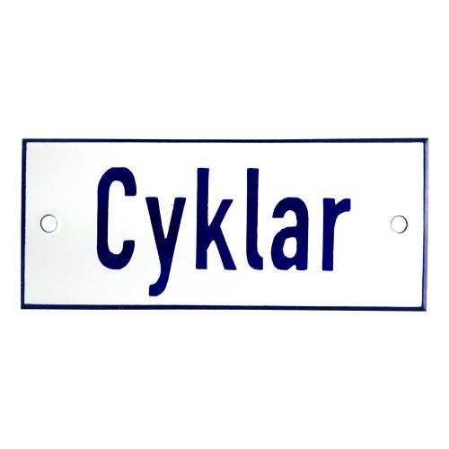 Emaljskylt Cyklar vit - blå 12 x 5 cm modell 1