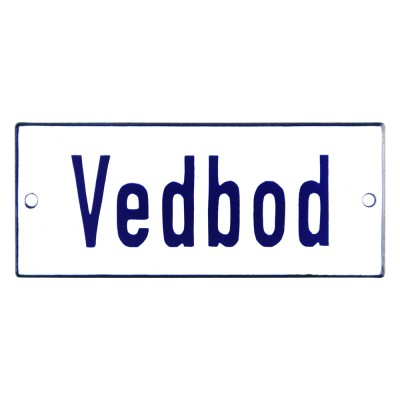Emaljskylt Vedbod vit - blå 12 x 5 cm modell 1
