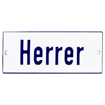 Emaljskylt Herrer vit - blå 12 x 5 cm modell 1