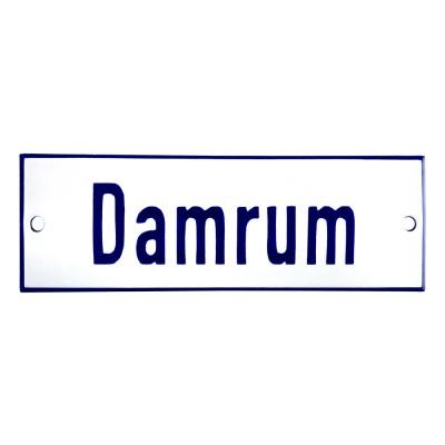 Emaljskylt Damrum vit - blå 12 x 5 cm modell 1