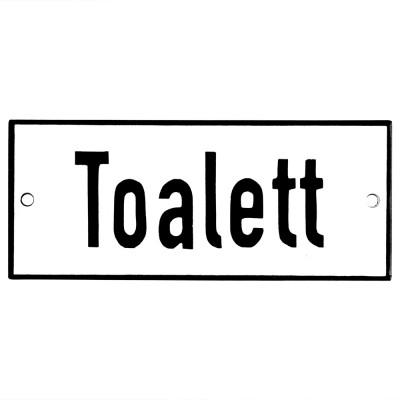 Emaljskylt Toalett vit - svart 12 x 5 cm modell 2