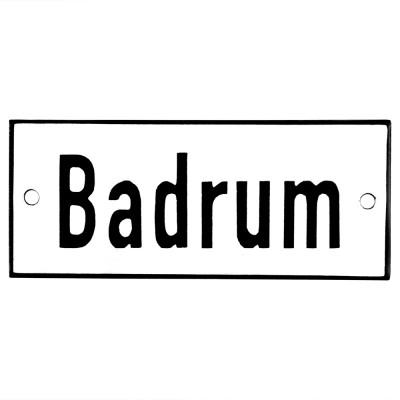 Emaljskylt Badrum vit - svart 12 x 5 cm modell 2