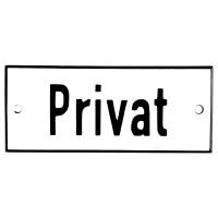 Emaljskylt Privat vit - svart 12 x 5 cm modell 2