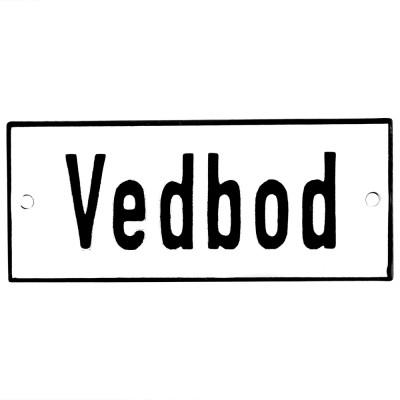 Emaljskylt Vedbod vit - svart 12 x 5 cm modell 2