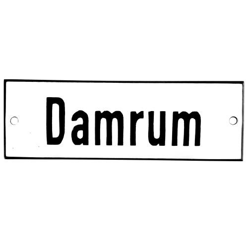 Emaljskylt Damrum vit - svart 12 x 5 cm modell 2