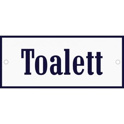 Emaljskylt Toalett vit - blå 12 x 5 cm modell 3