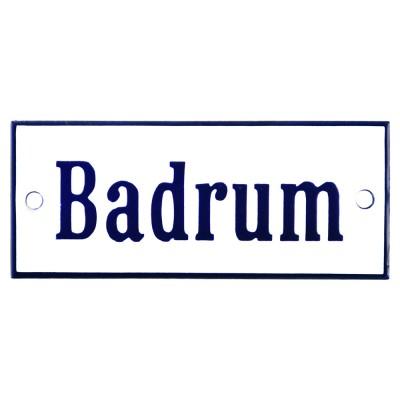 Emaljskylt Badrum vit - blå 12 x 5 cm modell 3