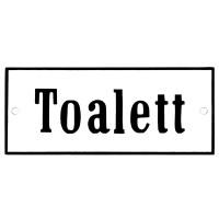 Emaljskylt Toalett vit - svart 12 x 5 cm modell 4