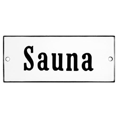 Emaljskylt Sauna vit - svart 12 x 5 cm modell 4