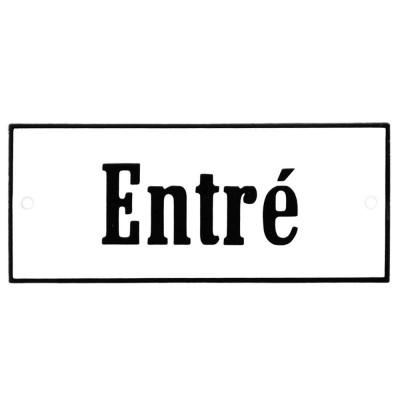 Emaljskylt Entré vit - svart 12 x 5 cm modell 4