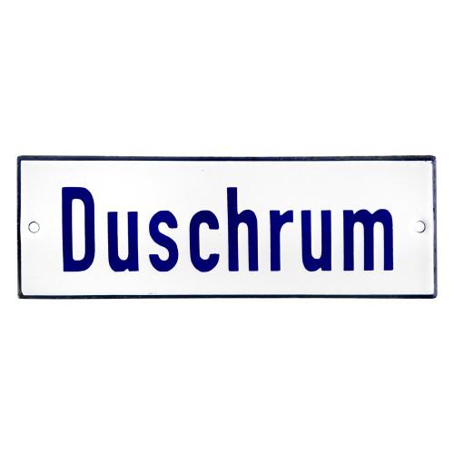 Emaljskylt Duschrum vit - blå 15 x 5 cm modell 1