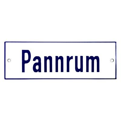 Emaljskylt Pannrum vit - blå 15 x 5 cm modell 1