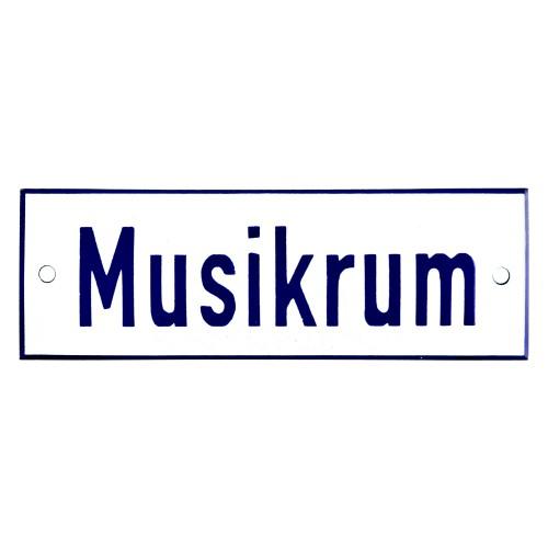 Emaljskylt Musikrum vit - blå 15 x 5 cm modell 1