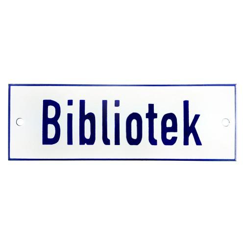 Emaljskylt Bibliotek vit - blå 15 x 5 cm modell 1
