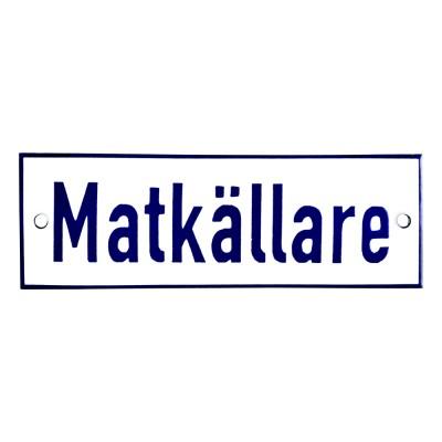 Emaljskylt Matkällare vit - blå 15 x 5 cm modell 1