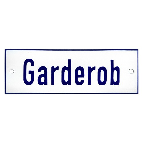 Emaljskylt Garderob vit - blå 15 x 5 cm modell 1