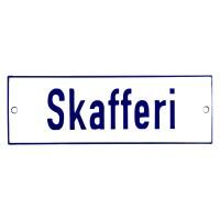 Emaljskylt Skafferi vit - blå 15 x 5 cm modell 1