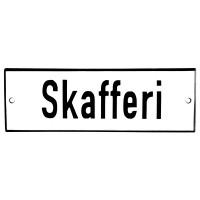 Emaljskylt Skafferi vit - svart 15 x 5 cm modell 2
