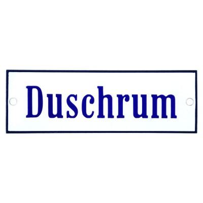 Emaljskylt Duschrum vit - blå 15 x 5 cm modell 3