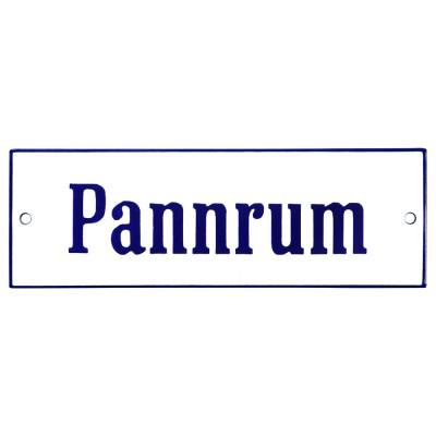 Emaljskylt Pannrum vit - blå 15 x 5 cm modell 3