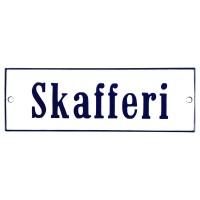 Enamel sign Skafferi white - blue 15 x 5 cm model 3