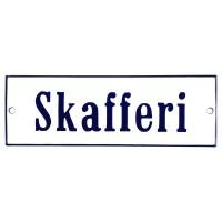 Emaljskylt Skafferi vit - blå 15 x 5 cm modell 3
