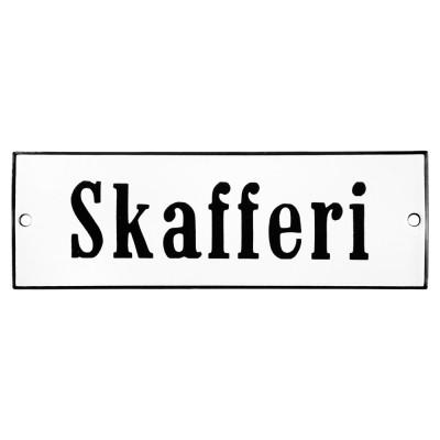 Emaljskylt Skafferi vit - svart 15 x 5 cm modell 4