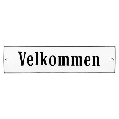 Emaljskylt Velkommen vit - svart 20 x 5 cm modell 4