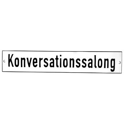 Emaljskylt Konversationssalong vit - svart 28 x 5 cm modell 2