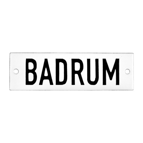 Emaljskylt BADRUM vit - svart 10 x 3 cm modell 20