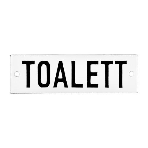 Emaljskylt TOALETT vit - svart 10 x 3 cm modell 20