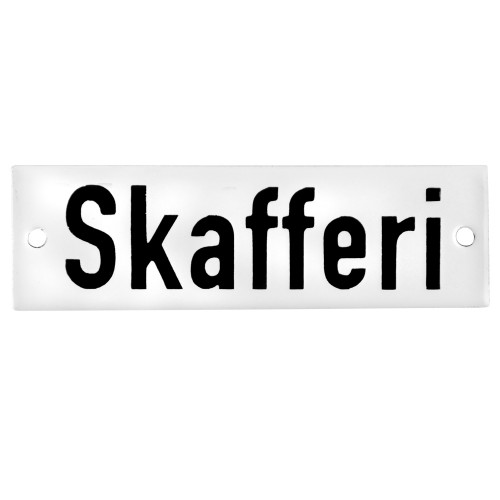 Emaljskylt Skafferi vit - svart 10 x 3 cm modell 20