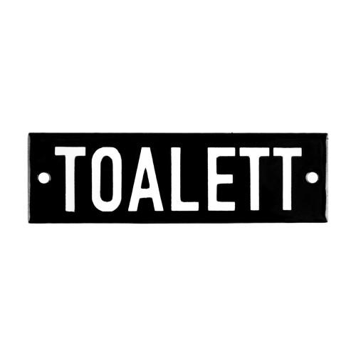 Emaljskylt TOALETT svart - vit 10 x 3 cm modell 21