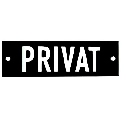 Enamel sign PRIVAT black - white 10 x 3 cm model 21