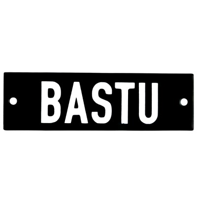 Enamel sign BASTU black - white 10 x 3 cm model 21