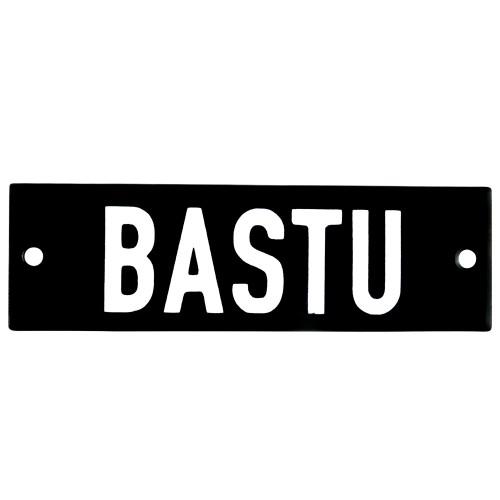 Emaljskylt BASTU svart - vit 10 x 3 cm modell 21