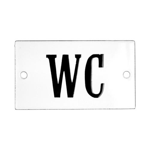 Emaljskylt WC vit - svart 7 x 4 cm modell 22