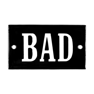 Enamel sign BAD black - white 7 x 4 cm model 23
