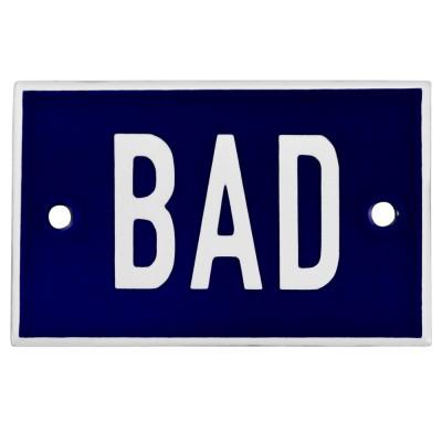 Emaljskylt BAD blå - vit 8 x 5 cm modell 5