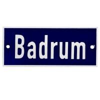 Emaljskylt Badrum blå - vit 12 x 5 cm modell 5