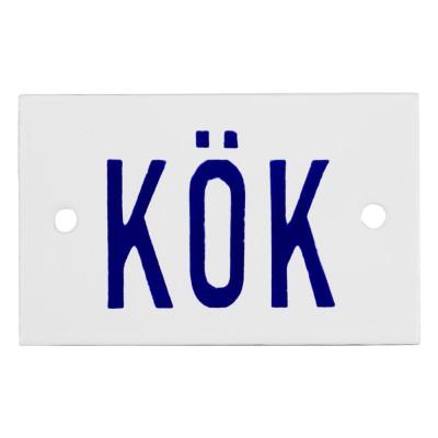 Emaljskylt KÖK vit - blå 8 x 5 cm modell 6