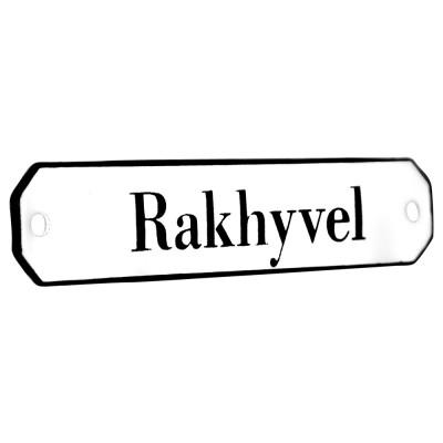 Emaljskylt Rakhyvel vit - svart 10 x 2 cm modell 30