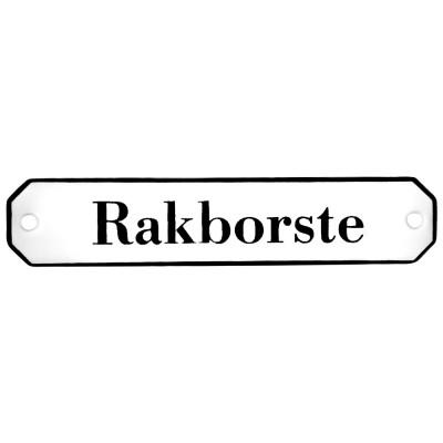 Emaljskylt Rakborste vit - svart 10 x 2 cm modell 30
