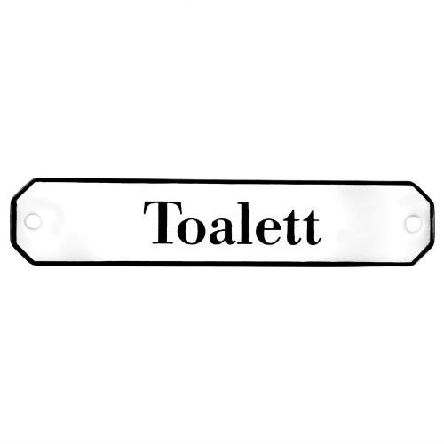 Emaljskylt Toalett vit - svart 10 x 2 cm modell 30