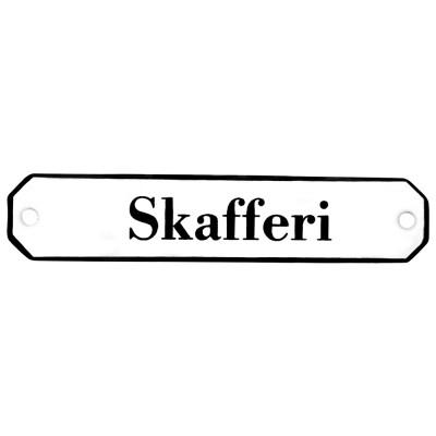 Emaljskylt Skafferi vit - svart 10 x 2 cm modell 30