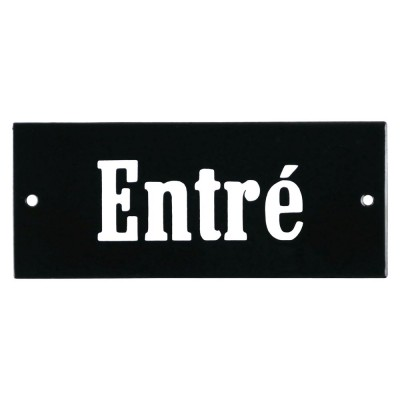 Enamel sign Entré black - white 12 x 5 cm model 8